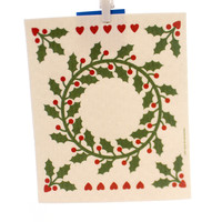 Swedish Dish Cloth HOLLY WREATH ALL NATURAL TOWEL Premier Kitchen Cloth 21866 #