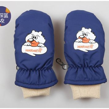 Winter Children's Cotton Gloves Windproof and Waterproof Child  Mittens Thickening Warm Ski Mittens Children Boys Girls (1-8Y)