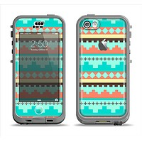 The Teal & Gold Tribal Ethic Geometric Pattern Apple iPhone 5c LifeProof Nuud Case Skin Set