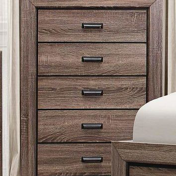 5 Drawer Wooden Chest In Transitional Style Rustic Brown