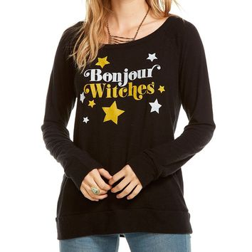 Bonjour Witches Long Sleeve Knit Pullover