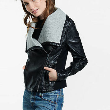 bonded (minus the) leather wide collar jacket