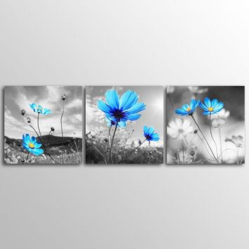 No Frame Home Decor Canvas Prints Wall Pictures 3 Panels Wall Art Blue Flower Canvas Art Modern Huge Pictures.