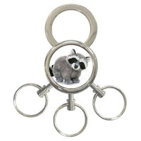 RACCOON Metal chrome 3 Key Rings Key Chain Size 3/4 inch Gift New