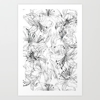 lily sketch black and white pattern Art Print by Color and Color