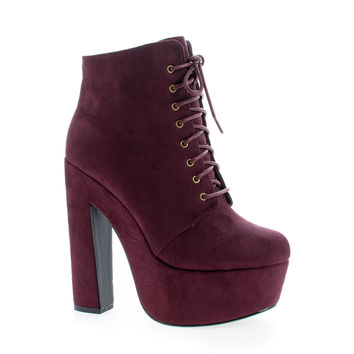 MarinoSL98 Vino F-Suede Round Toe Lace Up Platform Chunky High Heel Ankle Booties