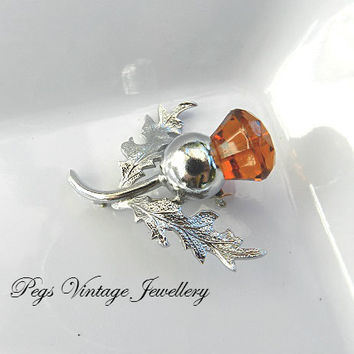 Vintage Scottish Gaelic/Celtic Thistle Brooch//Silver Plated Amber Glass Crystal Pin/Brooch