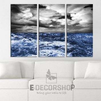 Large Wall Art Canvas Print Storm on Blue Ocean (Sea)  Ready to Hang - MC240