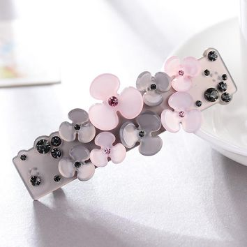 Promotion Ornament petal Rhinestone hair barrette clips delicate acrylic hair pins fashion jewelry women accessories