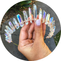 Angel Aura Mystic quartz crown headband with silver, gold or rose gold wire