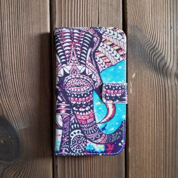 Elephant Cute Leather Flip Wallet Case for Galaxy S5