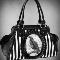 Striped Raven Victorian Handbag