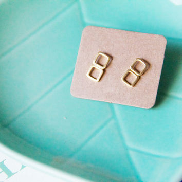 Double Square Outline Stud Post, Post Earrings, Studs, Stud earrings, earrings, instagram, holiday gift ideas