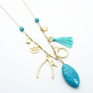Wishing bird long necklace