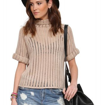 JOA Sheer Turtleneck Sweater