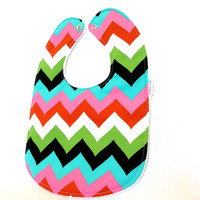 Baby Bib - Modern Baby Bib - Bold Chevron Bib - Pink, Green, Blue, Black, and Red Bib - Girly Baby Bib - White Minky Fabric - Handmade Baby