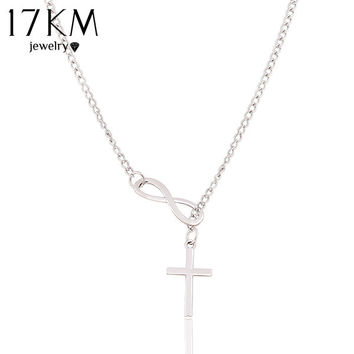 New Fashion Luxury Plating Silver Chain Necklace Cross Infinity Pendants Statement long necklace jewelry for women 2014 M13