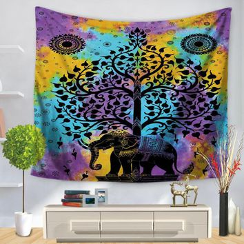 Customized Color Painted Elephant Tapestry Polyester Hanging Elephant Tapestry Decoration Wall Hanging 130x150cm