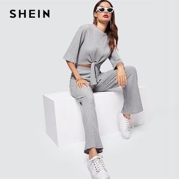 4f25b2cb6e SHEIN Grey Knot Dip Hem Marled Knit Top And Pants Set Round Neck