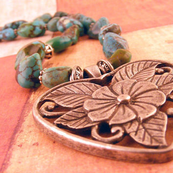 Turquoise Necklace Nuggets with Heart Pendant