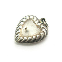 Shabby Chic Silver Heart Charm Puffy Embossed Sterling Pendant Love Token Sculpted Fluted Border Vintage 1940s Art Deco Jewelry