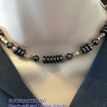 Men's Hematite Black and Silver Necklace, Gift for Him, Trending Jewelry, Men's Jewelry