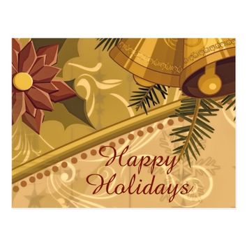 Abstract Amber Golden Brown Christmas Postcard