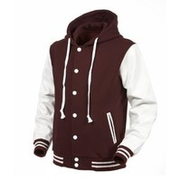 Angel Cola Maroon & White Hoodie Varsity Cotton & Synthetic Leather Baseball Letterman Jacket (Small)