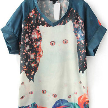Multi Colored Bell Sleeve Galaxy Cat Print T-Shirt