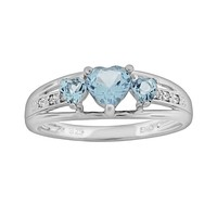 Sterling Silver Lab-Created Aquamarine & Diamond Accent Heart 3-Stone Ring (Blue)