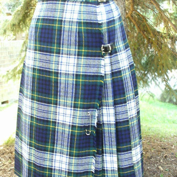 ON SALE 70s Blue Green White Yellow Tartan Plaid Scottish Kilt Pleated Skirt Authentic Kilt Unisex
