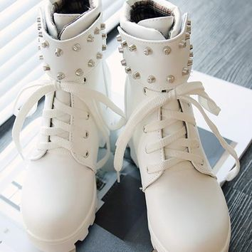 New Women White Round Toe Wedges Rivet Casual Ankle Boots