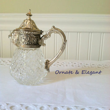 Antique Ornate Leonard Waffle Silver Plate Crystal Syrup Creamer/Pitcher with Lion Head Spout/Hollywood Regency/Mad Men