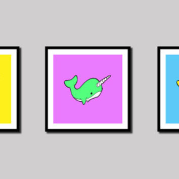 Narwhal Art Prints - Set of 3 - Choose Colors - Whale - Ocean - Sea - Wall Art - Children's - Nursery - Decor