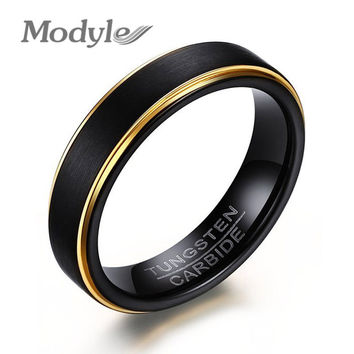 Modyle 2017 New Cool Black and Gold-Color Tungsten Ring for Men Jewelry 6MM Black Tungsten Carbide Ring