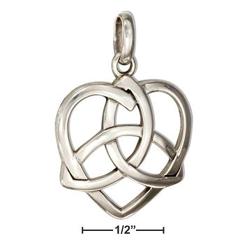 Sterling Silver Charm:  Heart With Celtic Trinity Knot Pendant