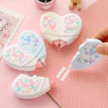 ICIK272 2 pcs/pair Love Heart correction tape material escolar kawaii stationery office school supplies papelaria 10M