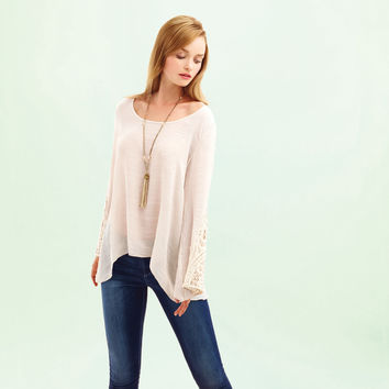 KAY CELINE Lace Bell Sleeve Top