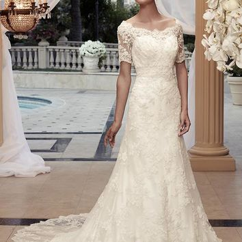 Casablanca Bridal 2119 3/4 Beaded Sleeve A-Line Wedding Dress