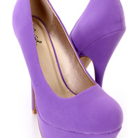 Purple Closed Toe Platform Pump Heels Nubuck