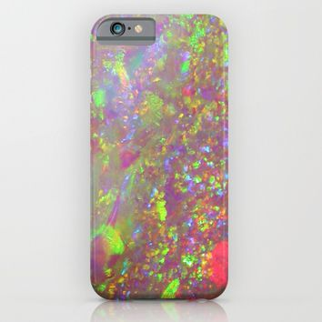 Opal iridescent holographic faux druse crystal quartz agate gem gemstone geode mineral stone photo iPhone & iPod Case by iGalaxy