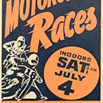 Cow Palace, San Francisco Motorcycle Races Ad Fine Art Print