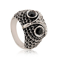 Silver Oxide Owl Ring #8 (Silver)