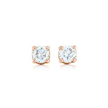 Tiffany & Co. -  Tiffany solitaire diamond earrings in 18k rose gold.