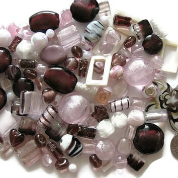 115 Pcs. Assorted Pink Purple White Beads Starfish Pendant Lampwork Glass Acrylic Ceramic Jewelry Making Crafts