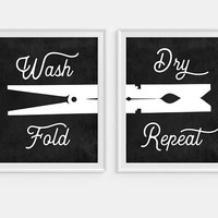 Laundry Room Sign, Laundry Room Art, Wash Dry Fold Repeat, Laundry Room Wall Art, Set of 2, Funny Art, Laundry Sign, Laundry Decor