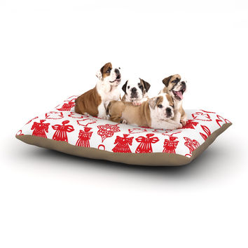 "Miranda Mol ""Angels Singing White"" Red Holiday Dog Bed"