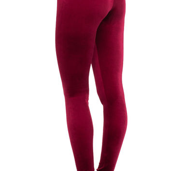 Burgundy Velvet Leggings - Shop Jeen - powered by Hingeto
