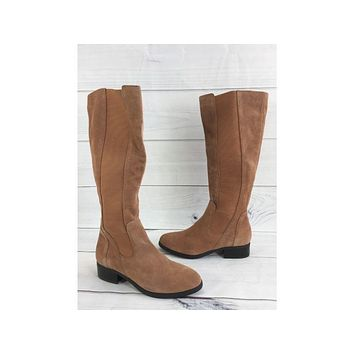 H by Halston Camel Suede Gored Tall Shaft Boots - Naomi  size 5.5M