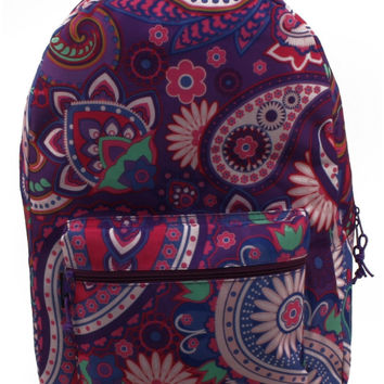 "17"" Lovely Purple Paisley Backpack"